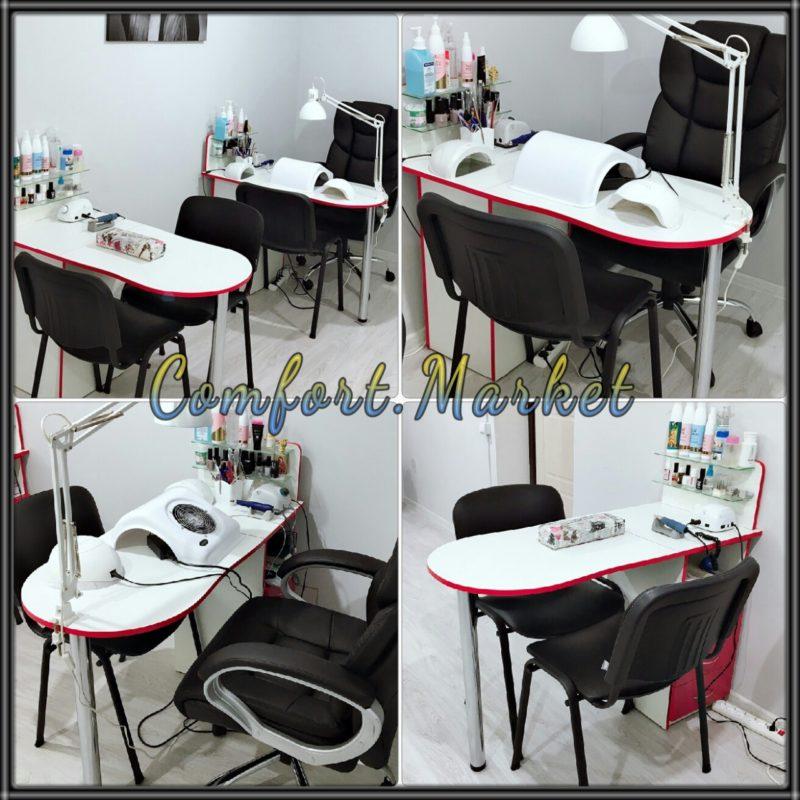 Стол для маникюра Профессиональный белый с красным - мебель для маникюрного салона